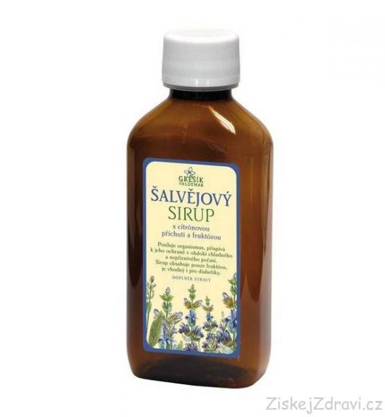 Šalvějový sirup s citrónovou příchutí a fruktózou 185 ml GREŠÍK